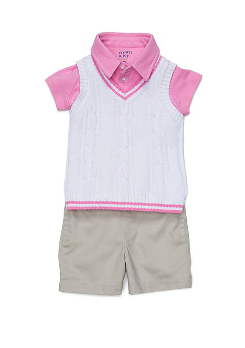 Crown & Ivy™ Baby Boys Polo and Sweater