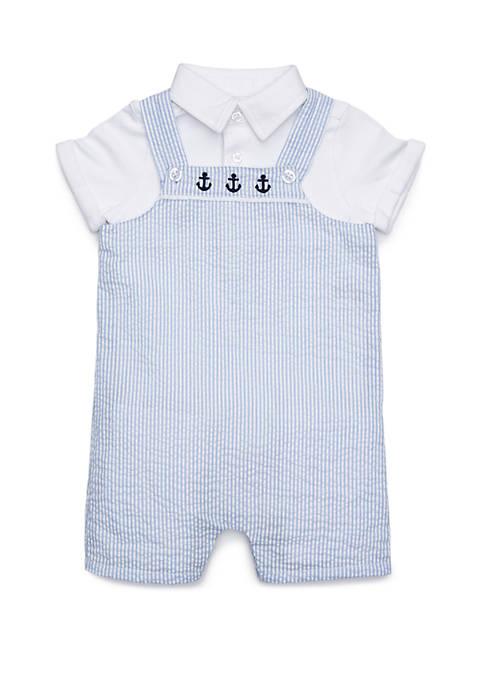 Baby Boys Button Front Seersucker Bodysuit