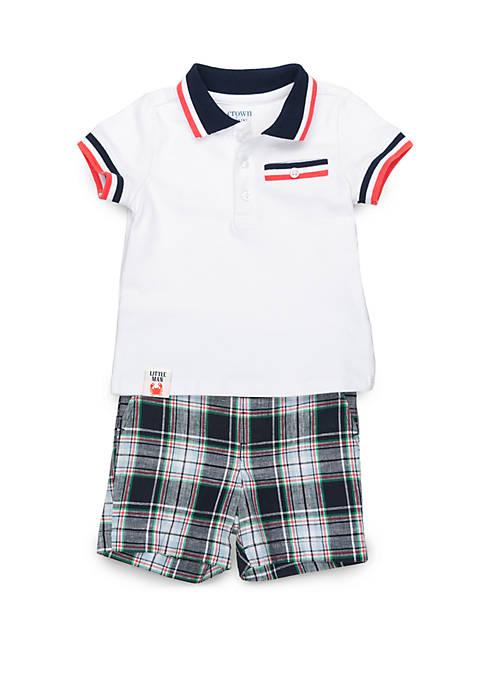 Crown & Ivy™ Baby Boys Rib Pocket Polo