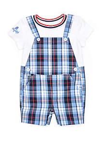 Crown & Ivy™ Baby Boys Tee and Overall Set