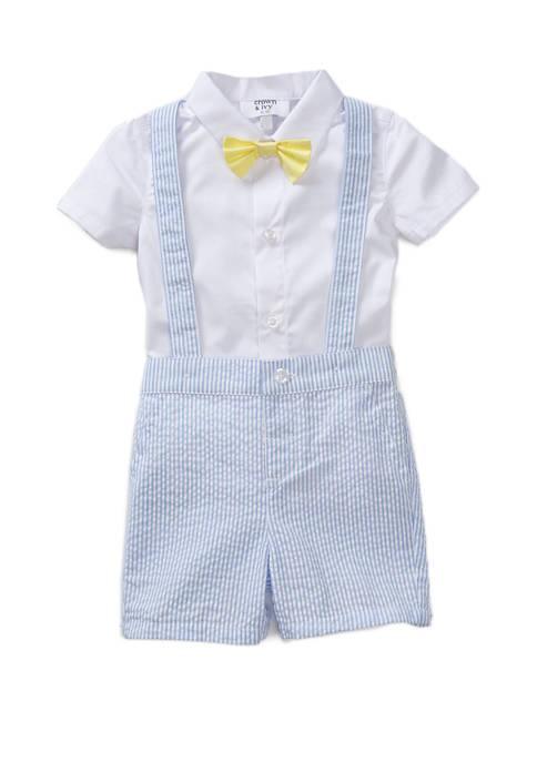 Crown & Ivy™ Baby Boys 4 Piece Suspender