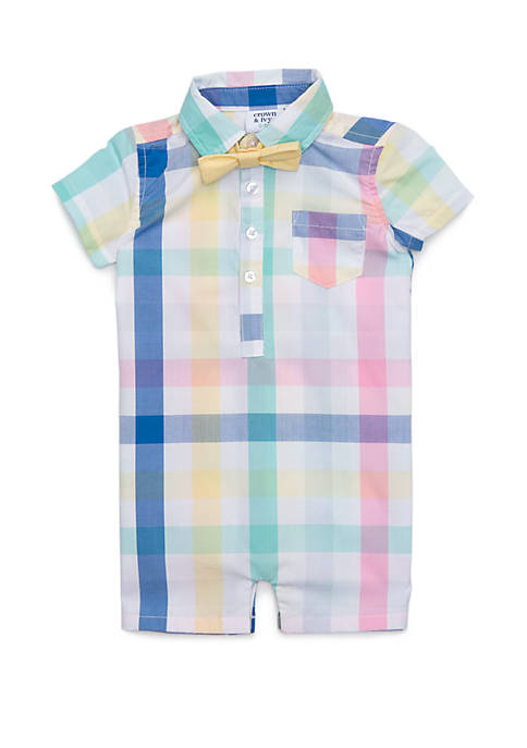 Crown & Ivy™ Baby Boys Button Front Poplin