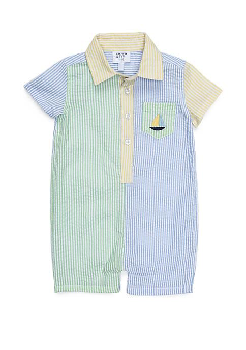 Crown & Ivy™ Baby Boys Button Front Seersucker