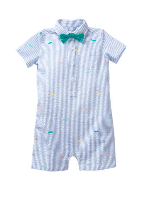 Crown & Ivy™ Baby Boys Button Front Romper and Bow Tie Set ...