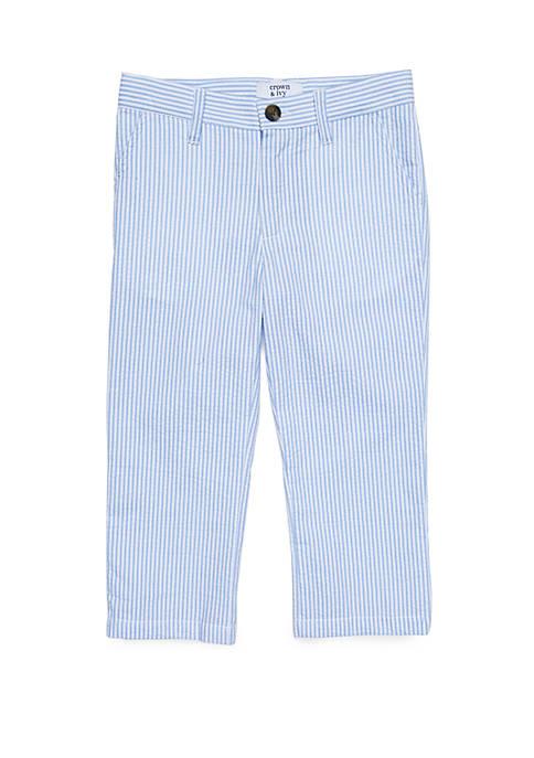 Toddler Boys Seersucker Flat Front Pants