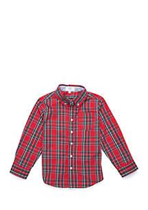 Toddler Boys One Pocket Long Sleeve Woven Shirt