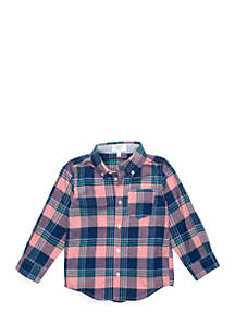 Crown & Ivy™ Toddler Boys One Pocket Long Sleeve Woven Shirt
