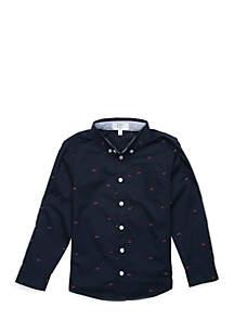 Crown & Ivy™ Toddler Boys Long Sleeve Shark Button Down Shirt