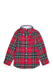 Toddler Boys Long Sleeve Woven Pocket Shirt