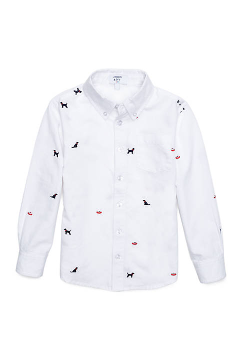 Crown & Ivy™ Toddler Boys Long Sleeve Oxford