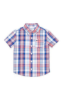 Crown & Ivy™ Toddler Boys Short Sleeve One Pocket Woven Shirt