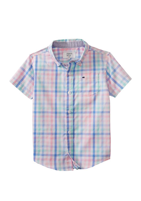 Crown & Ivy™ Toddler Boys Short Sleeve Woven