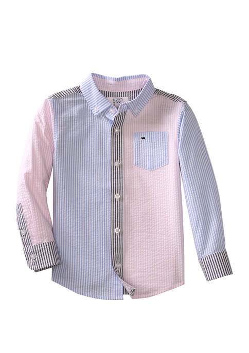 Crown & Ivy™ Toddler Boys Patchwork Woven Shirt