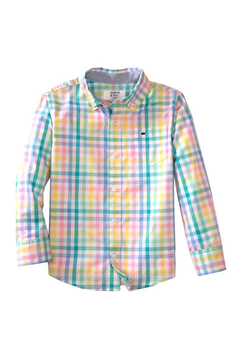 Crown & Ivy™ Toddler Boys Long Sleeve Plaid