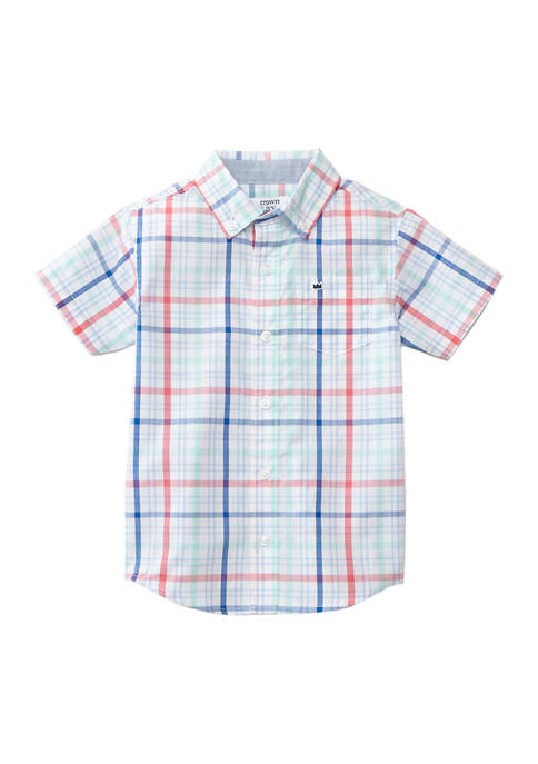 Crown & Ivy™ Toddler Boys Short Sleeve Poplin