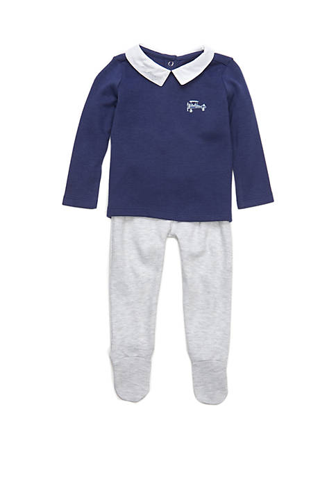 Crown & Ivy™ Baby Boys Pullover and Footie