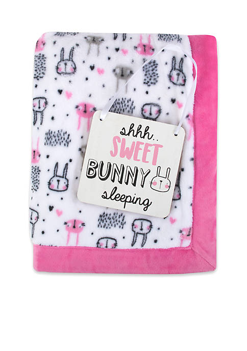 Lightning Bug Baby Girls Bunny Blanket and Plaque