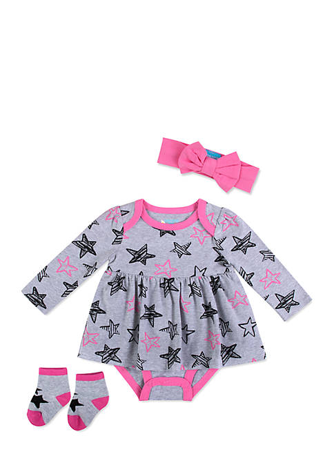 Lightning Bug Baby Girls Creeper Dress Set