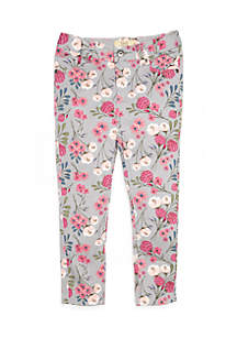 Toddler Girls Floral Printed Denim Pants