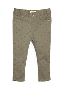 Infant Girls Olive Heart Denim Pants