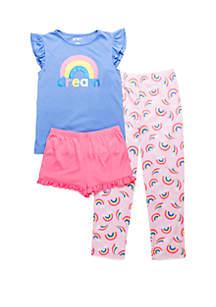 Lightning Bug Toddler Girls 3 Piece Pajama Set