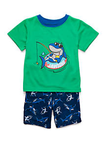 12783307 ... Lightning Bug Toddler Boys 2 Piece Shark Set