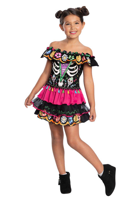 Charades Toddler Girls Day Of The Dead Costume
