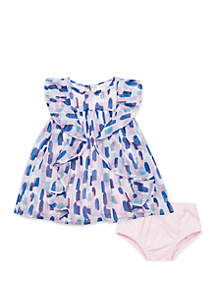 Baby Girls Brush Strokes Ruffle Dress
