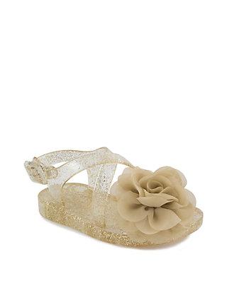 f13f686dff Crown & Ivy™. Crown & Ivy™ Girls Gold Flower Jelly Sandals