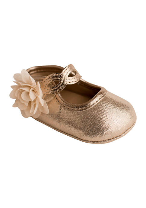 Crown & Ivy™ Baby Girls Gold Shimmer Flower