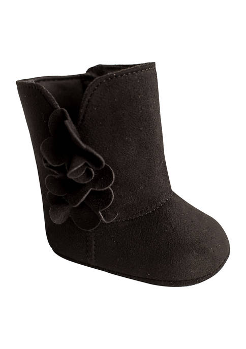 Baby Girls Black Side Bow Booties