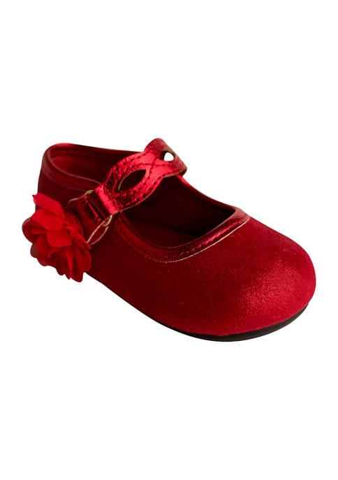 Toddler Girls Red Shimmer Dress Shoes