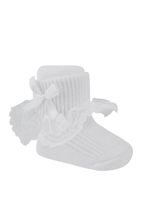 Crown & Ivy™ Baby Girls White Lace Booties