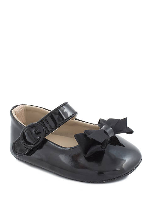 Baby Girls Black Patent Skimmer Shoes