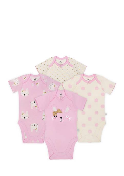 Just Born Baby Girls Bunny Bodysuit Set