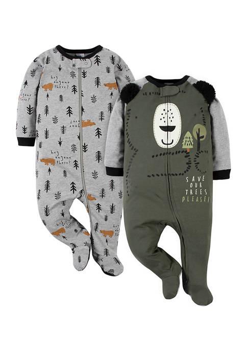 Gerber® Baby Boys 2 Pack Bear Zip Up