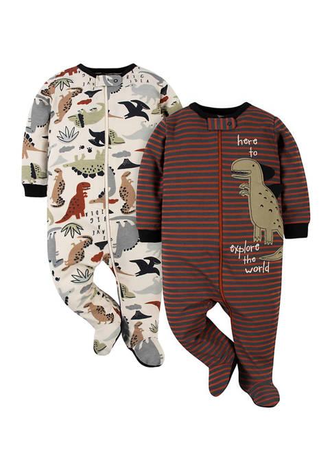 Gerber® Baby Boys 2 Pack Dinosaur Footies