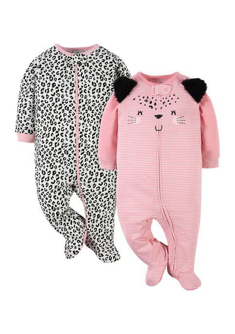 Gerber® Baby Girls Leopard Footies