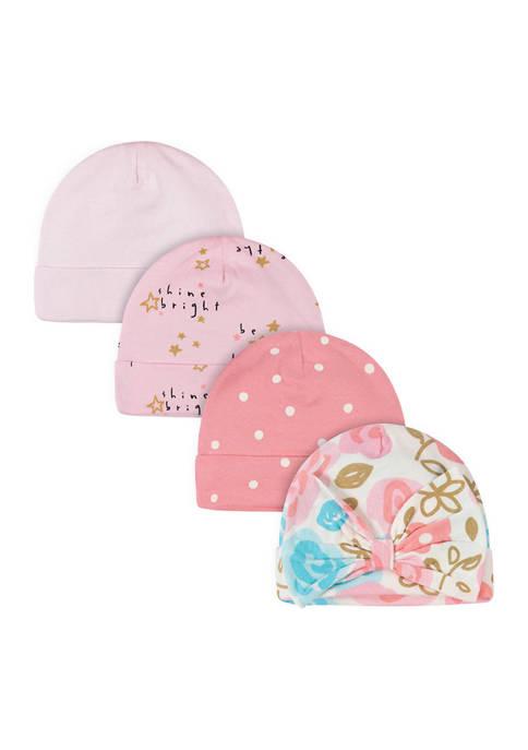 Just Born Baby Girls 4 Pack Princess Caps