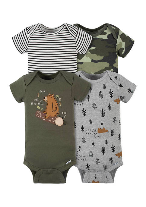 Gerber® Baby Boys 4 Pack Bear Bodysuits