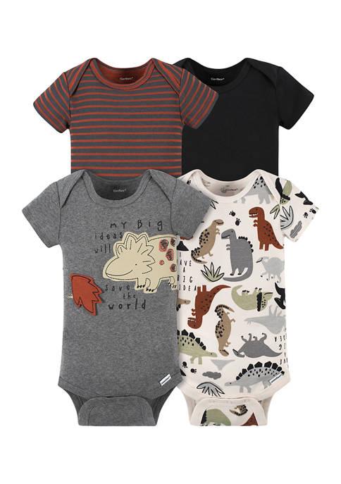 Gerber® Baby Boys Set of 4 Dinosaur Bodysuits