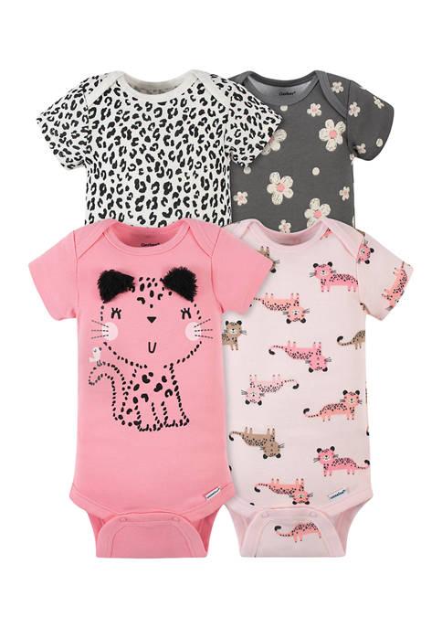 Gerber® Baby Girls Set of 4 Leopard Bodysuits