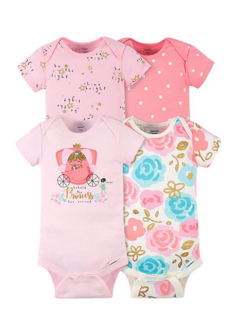 Gerber® Baby Girls 4 Pack Princess Bodysuits