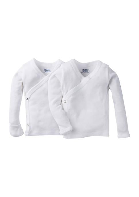 Gerber® Baby Girls 2 Pack Long Sleeve White