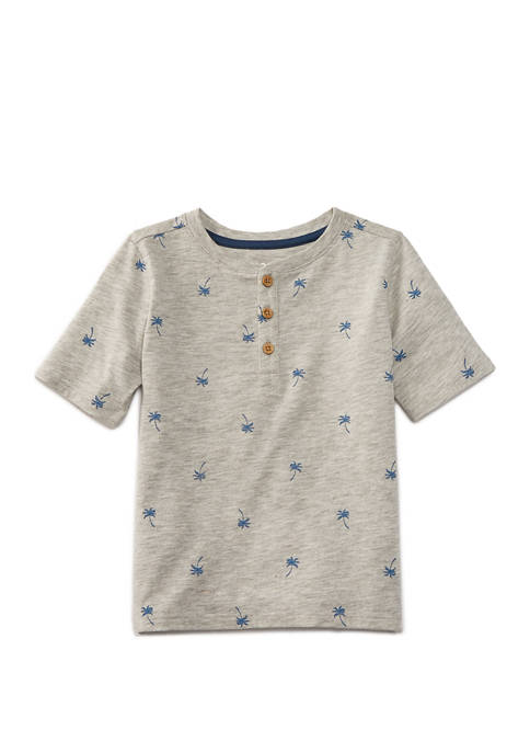 TRUE CRAFT Baby Boys Short Sleeve Henley Graphic