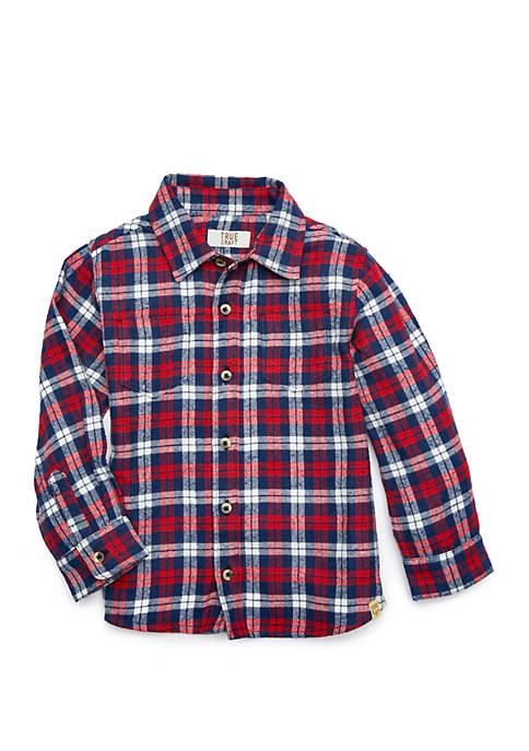TRUE CRAFT Toddler Boys Flannel Button Down Shirt
