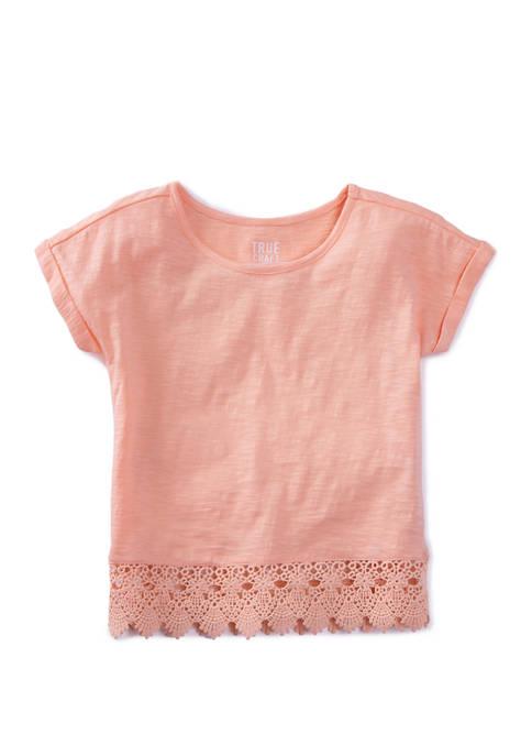 Toddler Girls Short Sleeve Crochet Hem Top