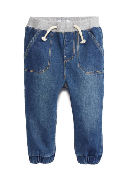 Crown & Ivy™ Baby Boys Denim Joggers