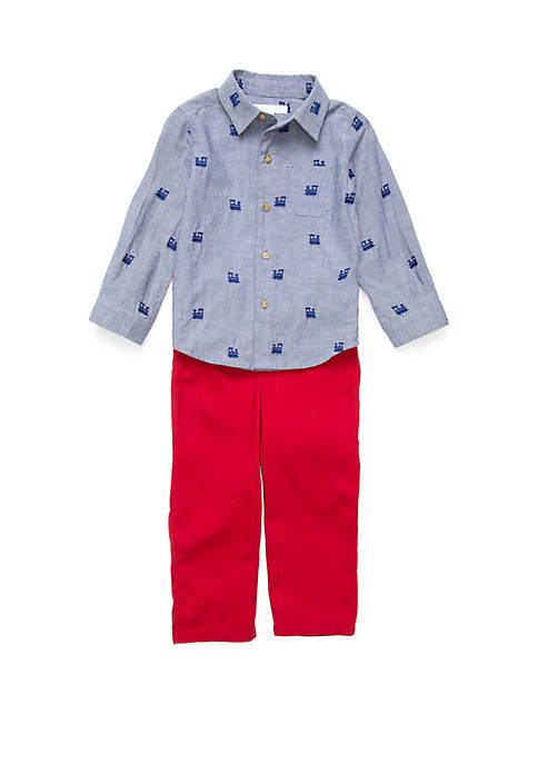 Crown & Ivy™ Baby Boys Woven Button Up