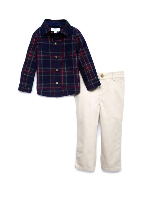 Crown & Ivy™ Baby Boys 2 Piece Button